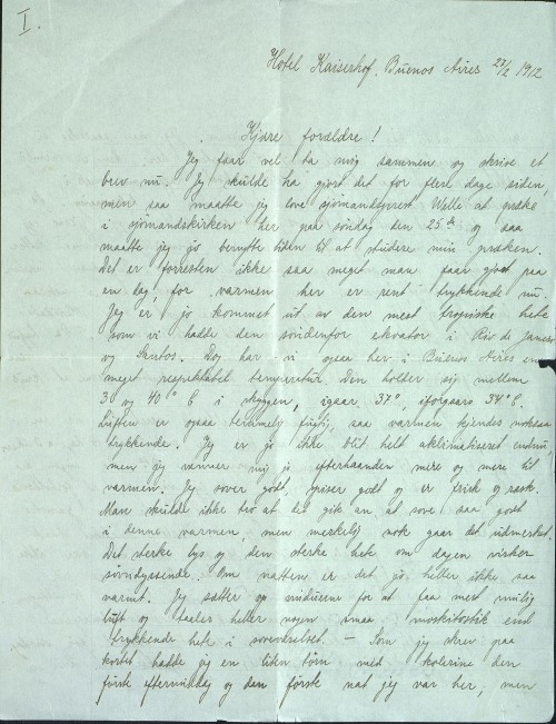 Pastor Løkens brevsamling - brev datert 27. februar 1912 - side 1