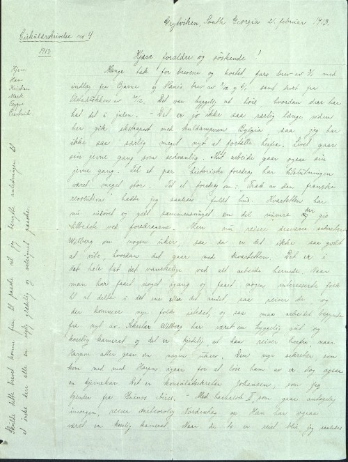 Pastor Løkens brevsamling - brev datert 21. februar 1913 - side 1
