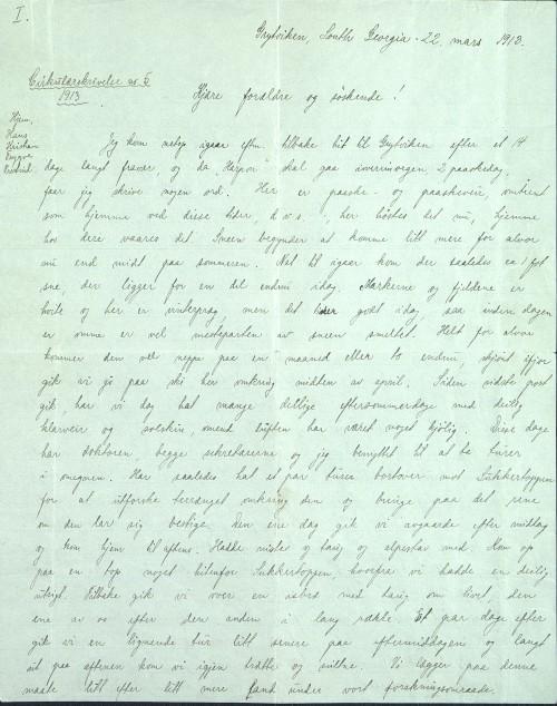 Pastor Løkens brevsamling - brev datert 22. mars 1913 - side 1