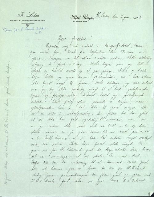 Pastor Løkens brevsamling - brev datert 16. juni 1913 - side 1