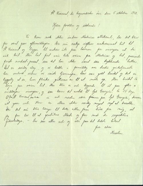 Pastor Løkens brevsamling - brev datert 5. oktober1913 - side 1