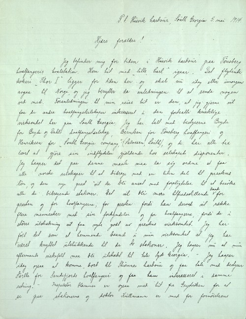 Pastor Løkens brevsamling - brev datert 5. mai 1914 - side 1