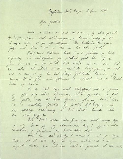 Pastor Løkens brevsamling - brev datert 3. juni 1914 - side 1