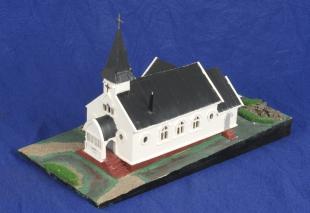 Modelll av kirken i Grytviken. Foto: Mekonnen Wolday.