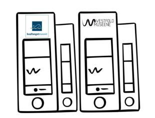 Illustrasjon av arkivbokser med logoen til Vestfoldmuseene og Hvalfangstmuseet