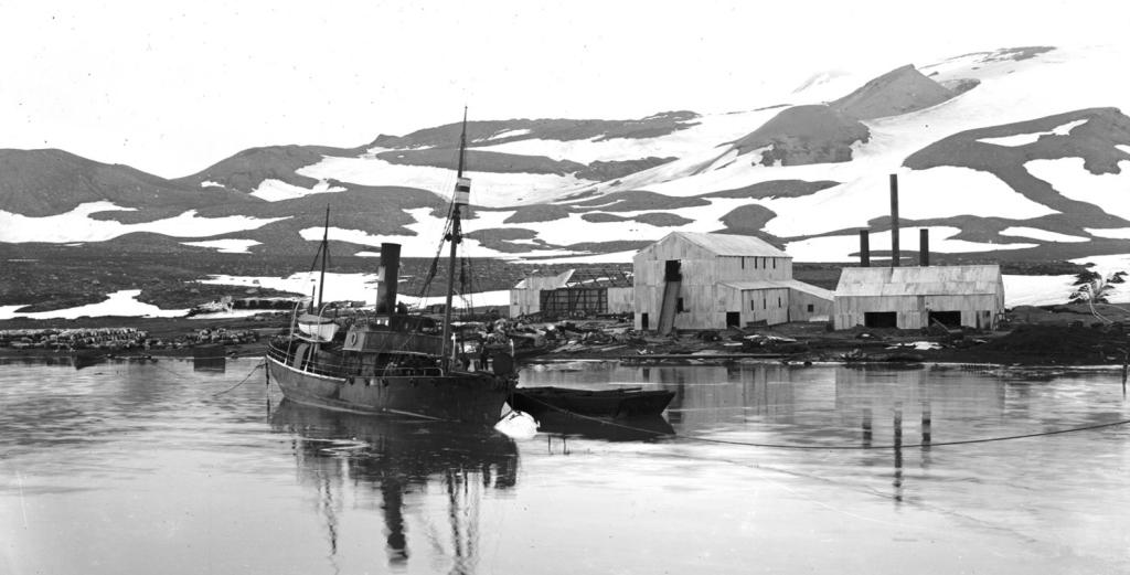 Sort-hvit-foto fra landstasjonen på Deceptionøya 1913