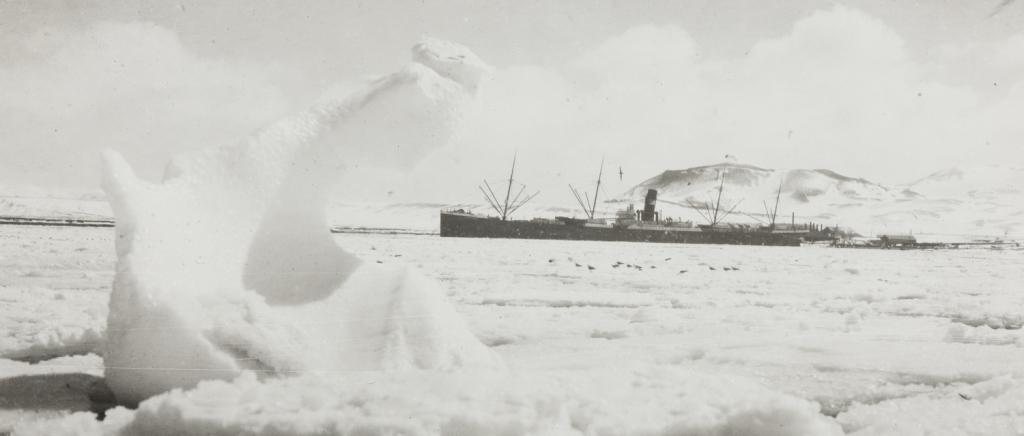 Hvalbåt i vinterlandskap