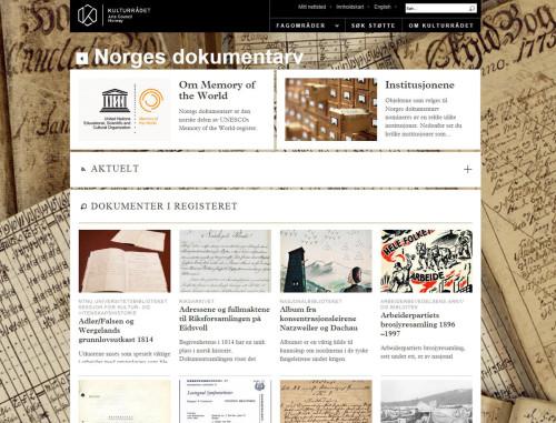 Kulturrådets nettside om Norges dokumentarv - klikk på bilet for å komme til nettsiden.