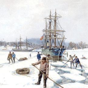 Isskjæring av råk for ei av Svend Foyns ishavsskuter – Slottsfjellsmuseets fotoarkiv